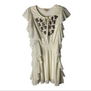 Double Zero Ivory Dress Keyhole Beading Front